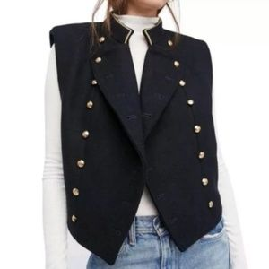 Free People Navy Cropped Military Vest